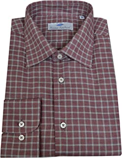 Remo Sartori - Camicia Felpata Uomo in Caldo Cotone Bordeaux a Quadri, vestibilità Regolare, Maniche Lunghe, Made in Italy