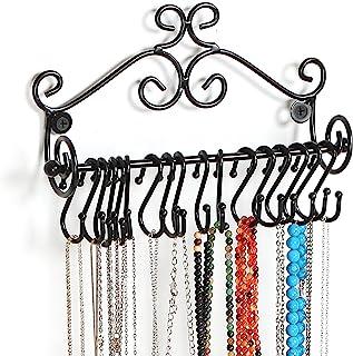 MyGift Wall Mounted Black Metal Scrollwork Design Jewelry Storage Organizer Rack w/ 20 Hanging S-Hooks