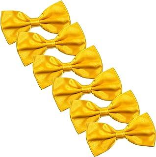 f15a3c6b6b81 Men's Bow Tie for Wedding Party - 6 Pack of Solid Color Adjustable Pre Tied  Bowties