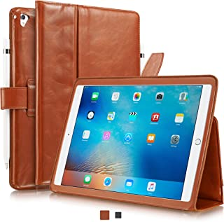 KAVAJ iPad Case 2018/2017 Leather Cover London for Apple iPad 6th & 5th Gen. Cognac Genuine Cowhide Leather with Pencil Holder Built-in Stand Auto Wake/Sleep Function Slim Fit Smart Folio iPad 9 7