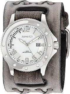 [ネメシス] Nemesis 腕時計 Men's 'Sporty Series' Quartz Stainless Steel and Leather Automatic Watch, Color:Black 日本製クォーツ VDXB105S メンズ 【並行輸入品】