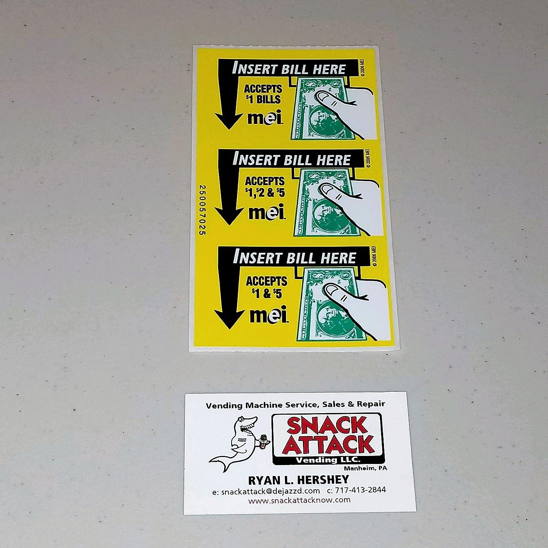 Mars VN2511 or [Alternative dealer] VN2512 Bill VALIDATOR Japan Maker New Decal 3 Stickers 2 $1