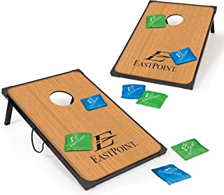 EastPoint Sports Cornhole Game Set Bean Bag Toss MDF - 2' W x 3' L - Built-In Storage, Convenient Carry Handles and 8 Premium Bean Bags
