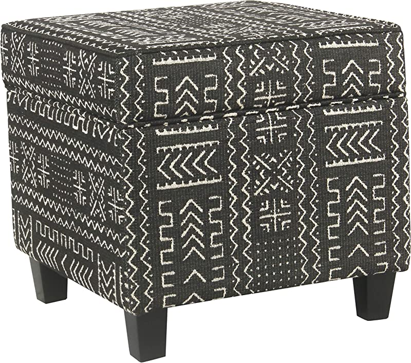 HomePop Square Storage Ottoman With Lift Off Lid Onyx