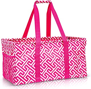 Extra Large Utility Tote Bag - Oversized Collapsible Pool Beach Bag With Two Exterior Pockets