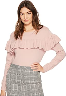 J.O.A. Knit Top with Ruffled Front