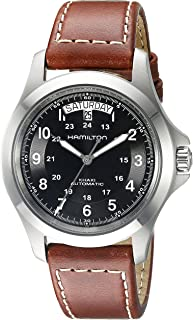 Men's H64455533 Khaki King Series Stainless Steel Automatic Watch with Brown Leather Band