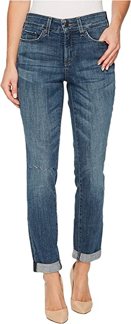 Girlfriend Jeans w/ Knee Slit in Crosshatch Denim in Newton