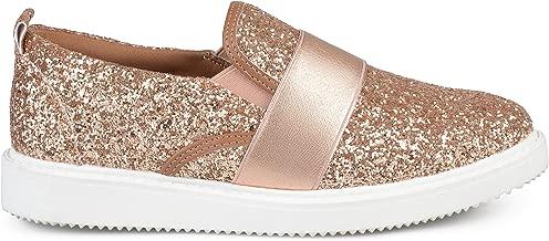 Brinley Co. Womens Glitter Ribbon Slip-on Sneakers
