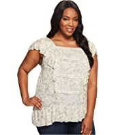 Lucky Brand - Plus Size Woven Mix Ruffle Tank Top