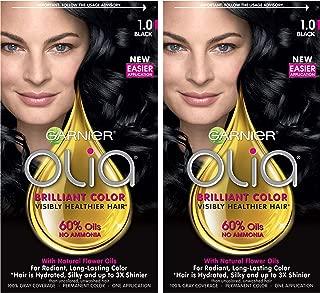 Garnier Olia Ammonia-Free Brilliant Color Oil-Rich Permanent Hair Color, 1.0 Black (Pack of 2) Black Hair Dye