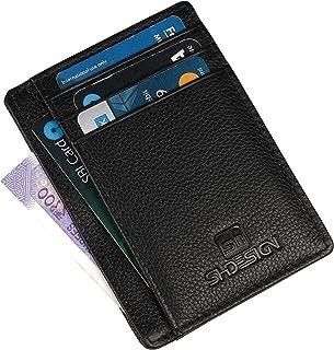 SHDESIGN Jack Genuine Leather Credit Card Holder for Men/Women Front Pocket Slim Wallet Black