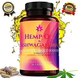 Hemp Oil Capsules for Anxiety & Stress Relief Supplement Provides Adrenal Support, Relaxation & Anxiety Reduction Contains Magnesium, Ashwagandha, 5HTP & More. 30 Capsules