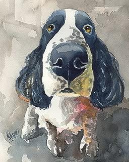 Springer Spaniel Dog Fine Art Print on 100% Cotton Watercolor Paper