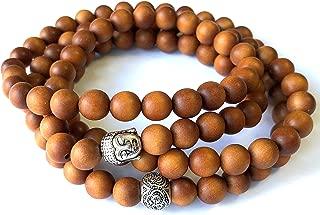 Agar Creations - 108 Bead Sandalwood 8mm Mala Bracelet - Wood Meditation Yoga Necklace
