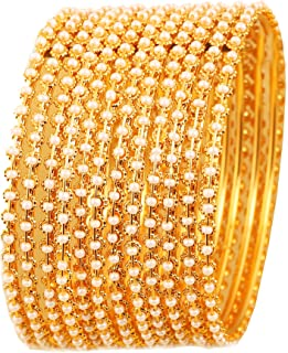 Touchstone New Pearl Bangle Collection. Indian Bollywood Traditional and Exclusive Thin Designer Jewelry Bangle Bracelets Embellished with Faux Pearls. Set of 12. in Antique Gold Tone for Women.