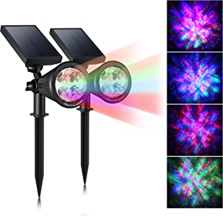CREATIVE DESIGN Solar Lights Outdoor Colored Solar Spotlight Outdoor, Waterproof Wall Lights Solar Christmas Lights with Auto On/Off for Garden, Christmas, Holiday Decoration(2 Pack)