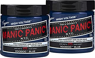 Manic Panic Voodoo Blue Color Cream (2-Pack) Classic High Voltage - Semi-Permanent Hair Dye - Vivid, Blue Shade - For Dark, Light Hair – Vegan, PPD & Ammonia-Free - Ready-to-Use, No-Mix Coloring