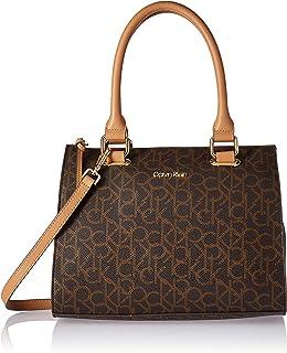 Calvin Klein womens Calvin Klein Halle Monogram Top Zip Key Item Satchel, brown/khaki/buff, One Size