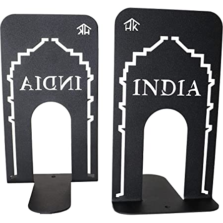 HeavenlyKraft Office Bookends Library Bookend India Gate Design Metal Bookends for Office & Library, Black Color, 7 Inch Tall (Pack of 2)
