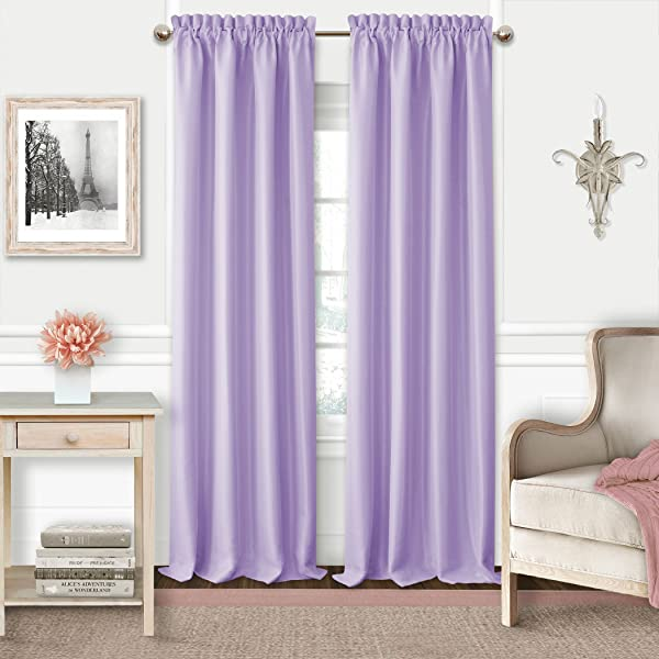 Elrene Adaline Kids Pastel Faux Silk Solid Color Blackout Room Darkening Thermal Insulating Window Curtain Single Rod Pocket Panel By 52 Inch Wide X 95 Inch Long Lavender