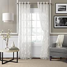 "Elrene Home Fashions 026865853902 Grommet Sheer Ironwork Jacquard Woven Single Panel Window Curtain Drape, 52"" x 84"", White"