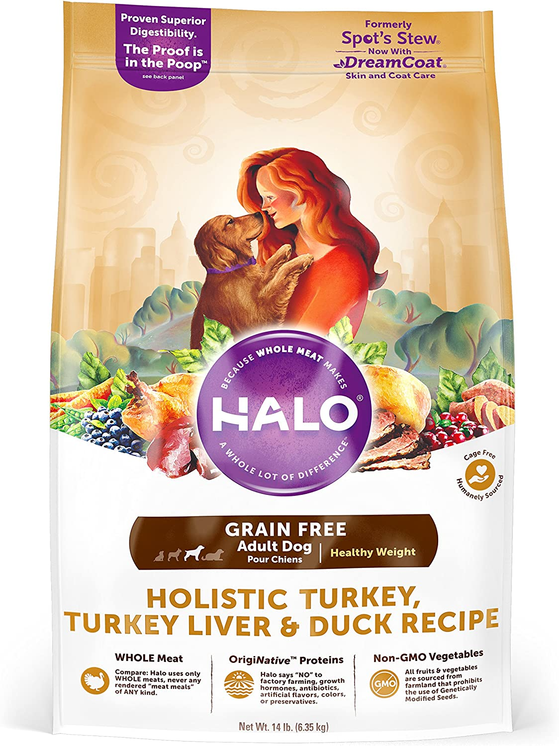 Halo Spot's Stew Healthy Weight Grain Free Turkey and Duck Recipe for Dogs, 14Pound