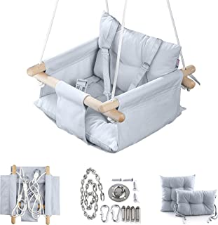 Canvas Baby Swing by Cateam - Gray - Wooden Hanging Swing Seat Chair for Baby with 5-Point Safety Belt and mounting Hardwa...