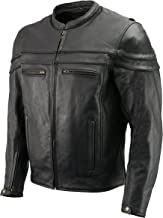 Men's Leather Crossover Scooter Jacket w/Removable CE Armor | Premium Natural Buffalo Leather | Concealed Gun Pockets, Vented Motorcycle Jacket (Black, 4X)