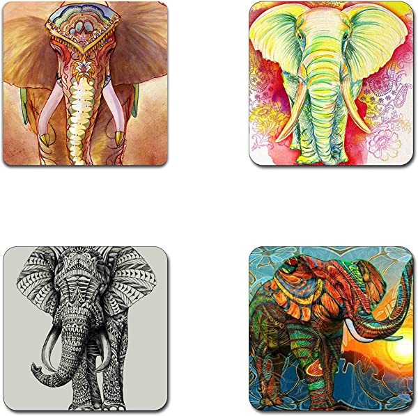 Elephant Pattern Square Coaster Set Made Of Recycled Rubber Set Of 4