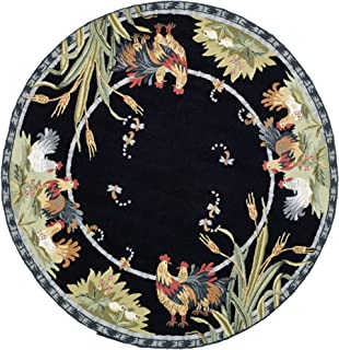 Safavieh Chelsea Collection HK56B Hand-Hooked Black Premium Wool Round Area Rug (4' Diameter)