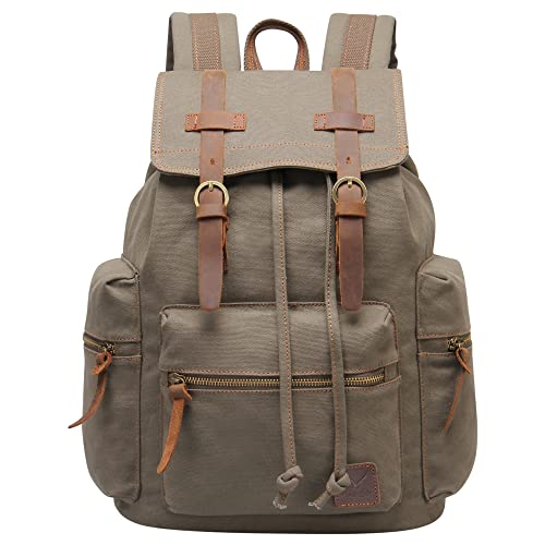 Hynes Eagle Vintage Canvas Backpack Travel Rucksack 19L Army Green