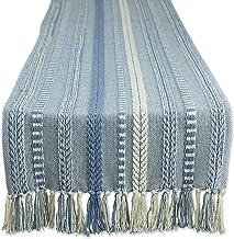 DII Farmhouse Braided Table Runner, 15x108, Stonewash Blue