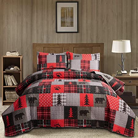 Details about  /Junsey Patchwork Bedding Lightweight Cabin Quilts Set Full//Queen Size,3Pcs Rusti