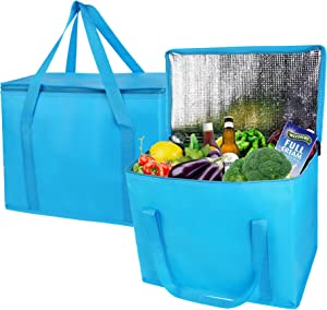2-Pack extra large Insulated Grocery shopping bag, Blue, reusable bag,Pizza,Sturdy zipper,Collapsible,tote,cooler,for men women,for instacart,bamko,Durable,Can