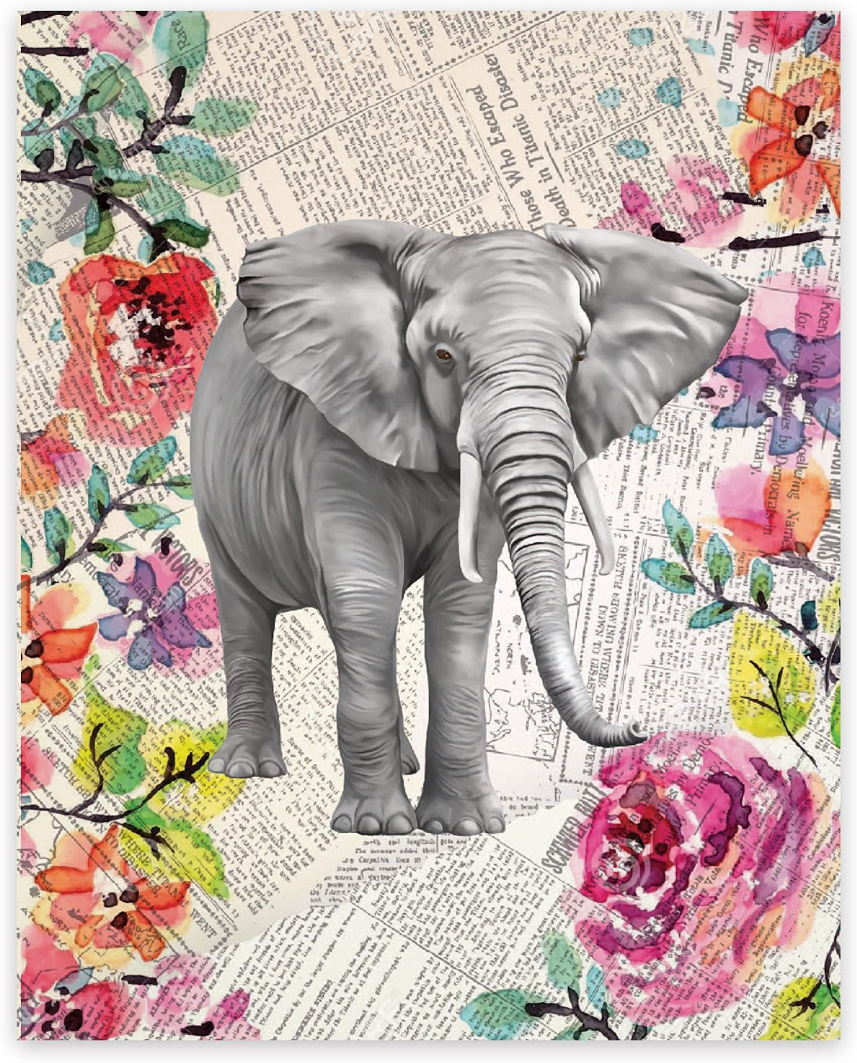 Elephant Pen /& Ink Drawing with Watercolor Print him Elephant gifts for her children/'s wall art Framed Rustic Elephant Watercolor Art
