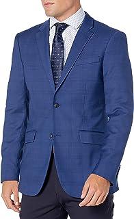 Perry Ellis Men's Very Slim Fit Plaid Stretch Jacket, Bay Blue, Small/38 Regular