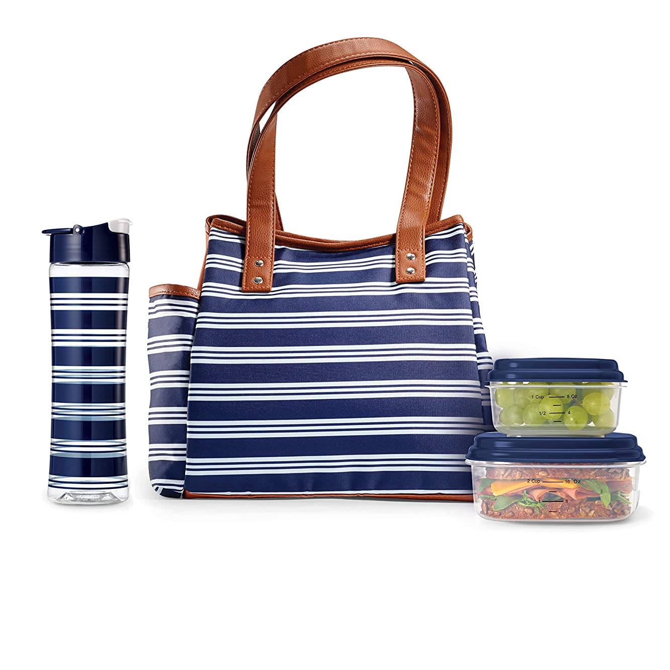 Fit & Fresh Insulated Lunch Bag Cooler Bag Tote Bag Kit for Women/Work/Picnic/Beach, Reusable Containers, Water Bottle, Westerly, Navy Stripe
