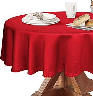 Obstal 210GSM Round Table Cloth, Oil-Proof Spill-Proof and Water Resistance Microfiber Tablecloth, Decorative Fabric Circular Table Cover for Outdoor and Indoor Use (Rio Red, 60 Inch Diameter)