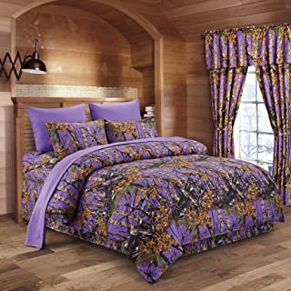 Regal Comfort The Woods Purple Camouflage Twin 5pc Premium Luxury Comforter, Sheet, Pillowcases, and Bed Skirt Set Camo Bedding Set for Hunters Cabin or Rustic Lodge Teens Boys and Girls
