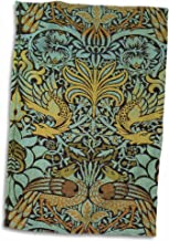 3D Rose Image of William Morris Peacock & Dragon in Gold & Aqua Hand Towel, 15