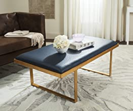 Safavieh Home Collection Navy Blue and Gold Millie Loft Bench