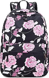 Teecho Stylish Bookbags for Women Cute Laptop Backpack for Girl Black Flower