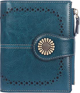 Lavemi Womens Leather Wallet RFID Blocking Small Bifold Compact Credit Card Case Purse for Women with ID Window Zipper Pocket