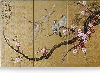 Sakura japonesa J166 - tríptico dorado, arte original, pinturas de estilo japonés del artista Ksavera