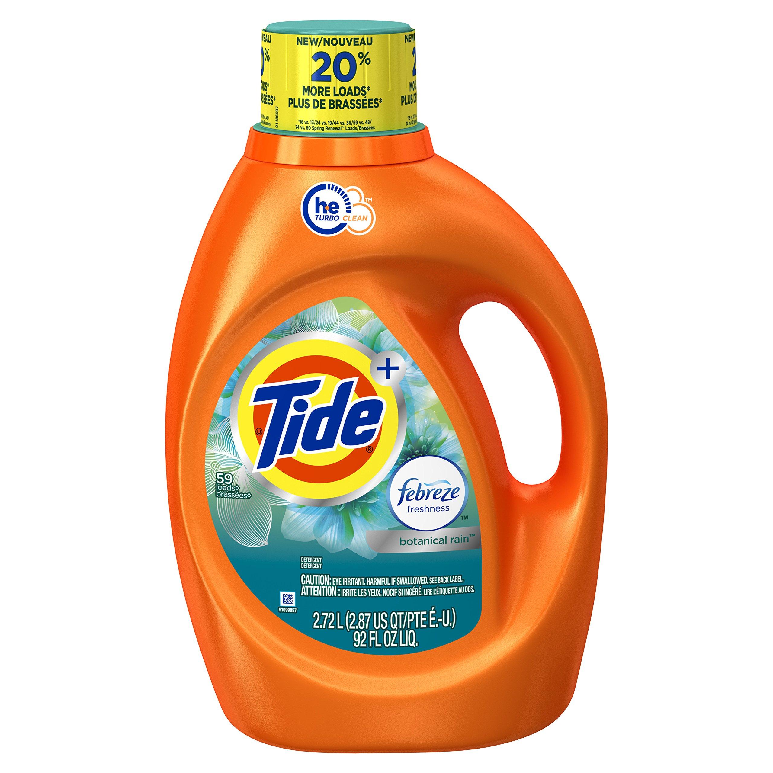 Tide 59 Loads Plus Febreze Freshness Botanical Rain He Turbo Clean Liquid Laundry Detergent, 92 Fluid Ounce  (Packaging May Vary)