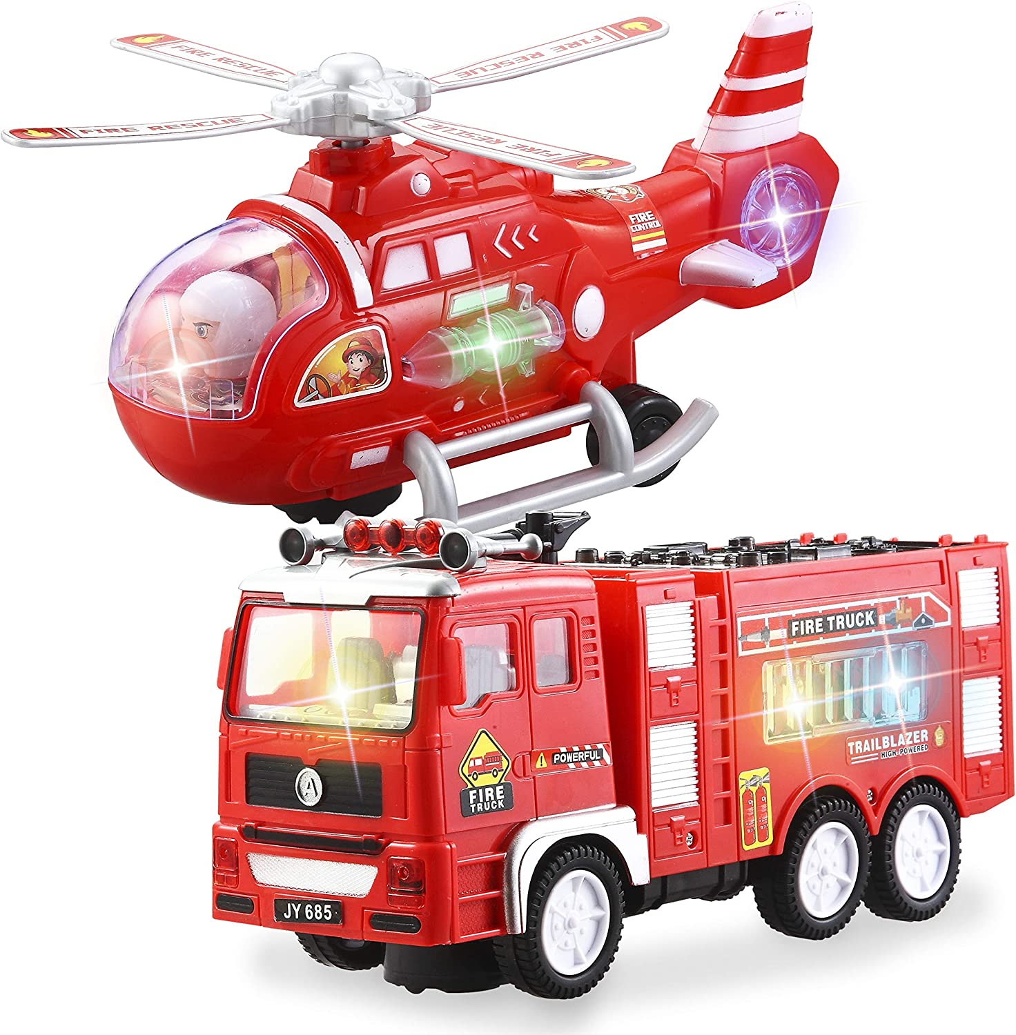 OFFicial shop 2 Pieces Fire Truck Toy and Helicopter wi Set Rescue Vehicle Cheap mail order sales