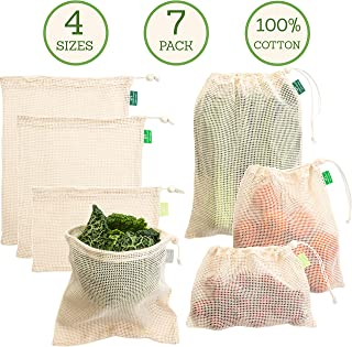 Cotton Produce Bags - Reusable Mesh Produce Bags - 4 Sizes (Large, Medium, Square, Small) in Set of 7 - Double-Stitched with Drawstring - Tare Weight on Tag - for Grocery Shopping and Storage