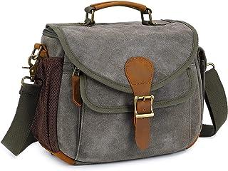 Camera Hombro Bolsa de Mensajero para Hombres Mujeres Bolso de Fotografía de Viaje Impermeable Antirrobo para Cámara DSLR para Nikon Canon Sony (Verde-S-New)