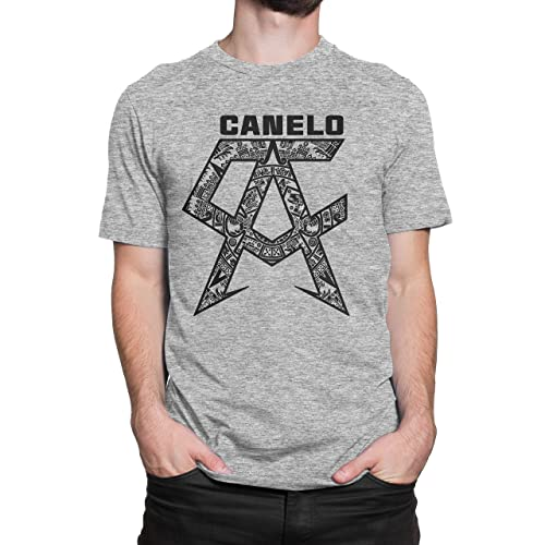 USA Threadz Canelo Saul Alvarez Aztec Logo Grey T-Shirt for Men
